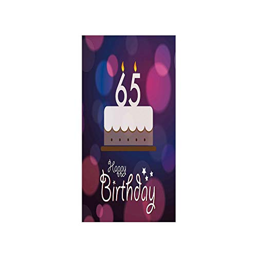 3D Decorative Film Privacy Window Film No Glue,65th Birthday Decorations,Birthday Ceremony Artwork with Cake Hand Writing Best Wishes,Blue Pink White,for Home&Office
