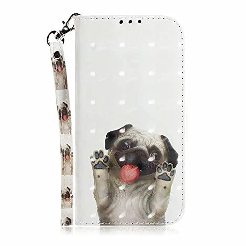 MTQLX Capa para celular Samsung Galaxy A8 Plus 2018 Carteira com estampa de animal 3D com compartimento para cartão de crédito e carteira com suporte Folio (Pug)
