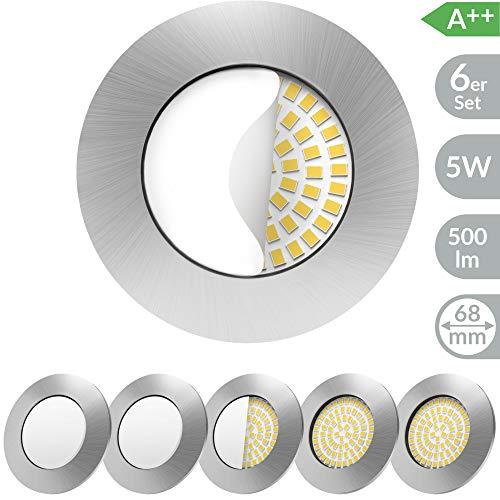 Scandinavian home 6er Set LED Einbaustrahler | ultra flach Badezimmer geeignet | warmweiß 220 / 230V CRI 90 5W 500lm 3000K | Edelstahldesign mit Milchglas | LED Spot Deckeneinbauleuchte 60-68mm