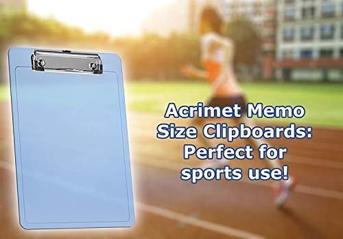 """Acrimet Clipboard Memo Size A5 (9 1/4"""" x 6 5/16"""") Low Profile Clip (Plastic) (Clear Blue Color) (3 Pack) Photo #5"""