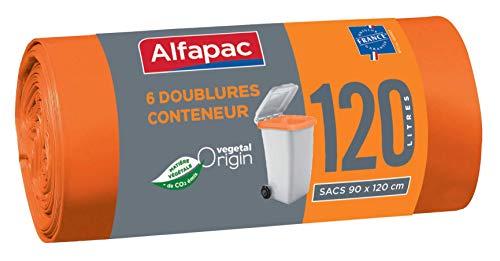 ALFAPAC - 6 sacs doublures poubelle roulante 120L - Sacs Poubelle Doublures de Container - Vegetal Origin - Sacs oranges de dimensions 90 x 120 cm