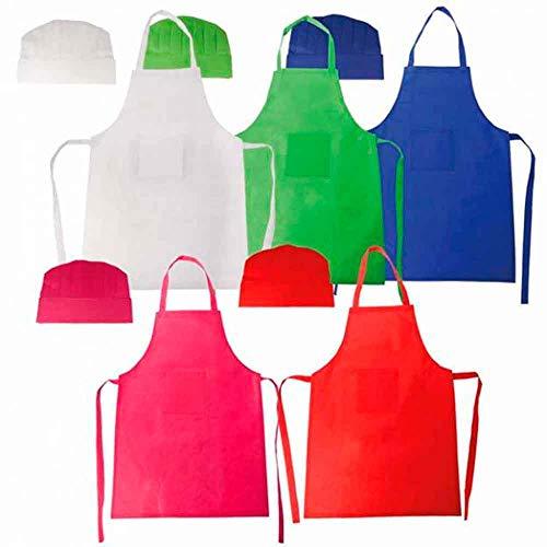 THE COLLECTION Lote 5 Unidades, Delantal más Gorro Infantil pequeños Cocineros, Colores Surtidos.Regalos para cumpleaños, Colegios y Fiestas Infantiles.