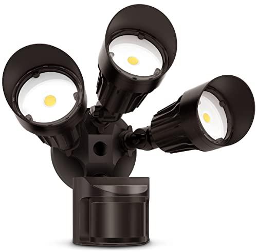 JJC LED Security Lights Motion Sensor Flood Light Outdoor,30W(250W Equiv.)3000LM,IP65 Waterproof,5000K-Daylight White DLC & ETL Listed Outdoor Lighting