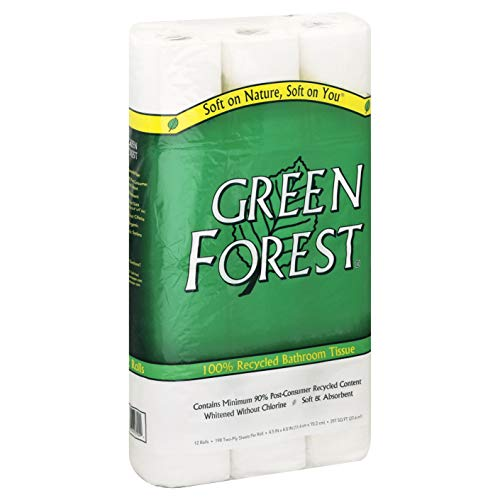 Green Forest 100% Recycled Bathroom Tissue, 198 Sheets, 12 Count (Pack of 8)