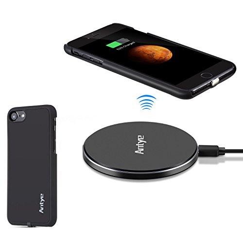 Antye Kit Qi Caricatore Senza Fili per iPhone 7 (2016), tra Cui Alluminio Wireless Charging Pad e Wireless Receiver Caso di Ricarica con connettore Staccabile fulmini