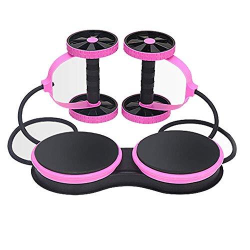 ZEH Dual Bauchtrainer Radkern Muskel AB Roller Kreuz passen Arm Taille Bein Abnehmen Rad Brett Widerstand Pull Seilverdrehung, Rosa FACAI (Color : Pink)