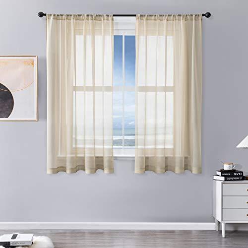 MRTREES Vorhänge Gardinen mit Store Vorhang Voile halbtransparent kurz in Leinenoptik Gardine Schals Beige Creme 160×140cm (H×B) für Wohnzimmer Schlafzimmer Kinderzimmer 2er Set