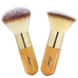 cheap Matt Bamboo Face Kabuki Makeup Brush Set 2 – Makeup Brush with Foundation and Powder…