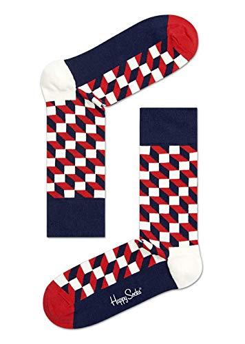 Happy Socks Damen Filled Optic Sock Socken,Blau (Multi Dunkel Blau 068),Einheitsgröße (Herstellergröße: 41-46)