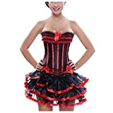 WoCoo Women's Sexy Gothic Lace up Boned Vintage Corset and Bustiers Dress with Skirt Plus Size(Red,XXXXXXL)