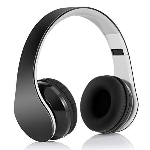 Bluetooth Headphones Wireless Headset Over Ear - Foldable Hi-Fi Stereo Headset with Built-in Mic, Comfortable Earpads, 15Hours Playtime, for Cellphones/ TV/ Computer/ Travel/ Work, Black