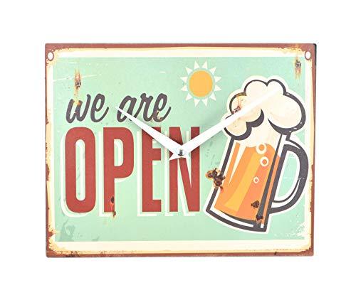 Schmiedegarten Wanduhr we Are Open aus Metall im Vintage Shabby Stil - Blechschild Uhr Hängeuhr Küchenuhr - Diner USA Clock Bier Beer