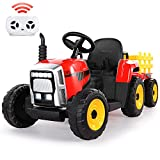Ride on Tractor 12V 7Ah, Kids Electric Tractor with Remote Control, 2+1 Gear Shift, 7-LED Headlight, Horn Button/ MP3/ Bluetooth/ USB Port, Toy Tractor with Trailer for Kids 3-6 Years(Red)