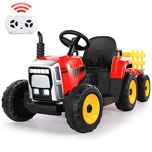 Tractor Eléctrico 12V 7Ah, 2+1 Cambio de Marchas, 25W Tractor Batería con Remolque, Bocina/ Reproductor MP3/ Bluetooth/ Puerto USB/ Faro de 7 LED, Control Remoto para Niño 3-6 años (Rojo)