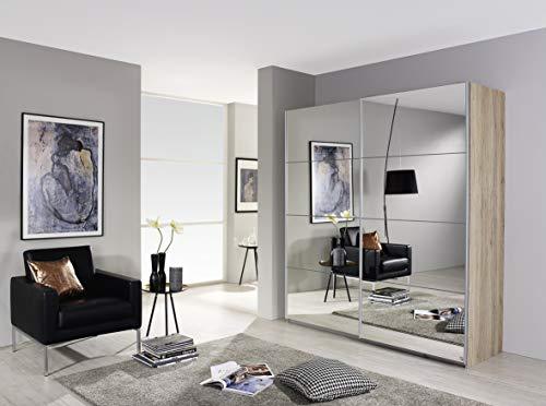 Rauch Möbel Subito Schrank Kleiderschrank Schwebetürenschrank in Eiche Sanremo hell mit Spiegel 2-türig inkl. Zubehörpaket Basic 2 Kleiderstangen, 2 Einlegeböden BxHxT 181x197x61 cm