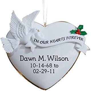 """GiftsForYouNow in Our Hearts Personalized Memorial Ornament, 4"""" x 3.75"""""""