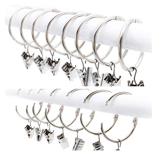 25 Pack Curtain Ring wiht Clips, Metal Decorative Drapery Window Curtain Ring Hooks with Strong Clip Rustproof, Easy Open and Close, 1.5 Inch Interior Diameter, Silver