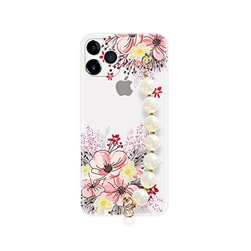 Funda de silicona suave para iPhone 6, 6S, 7, 8 Plus, 11, 12, Mini Pro Max Xs, Xr X SE2, pulsera de perlas y cadena de muñeca, bolsa 11-SXiaHua, para iPhone XR