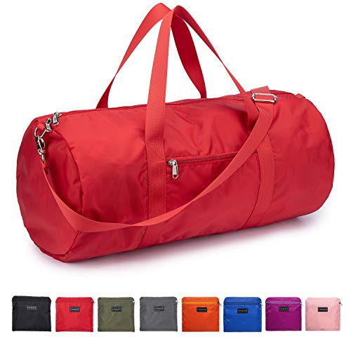 """Vorspack Small Duffel Bag 20"""" Foldable Lightweight Gym Bag with Inner Pocket for Travel Sports - Red"""