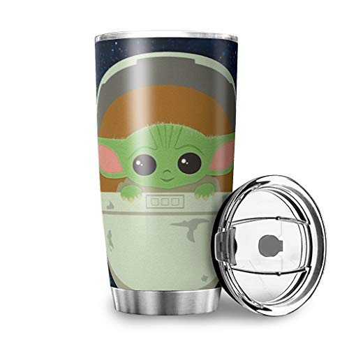 YxueSond Baby Yoda the Child 2 Vaso de acero inoxidable duradero aislado...