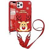 ZhuoFan Funda cruzada para OnePlus 6T 6.4 pulgadas, collar de teléfono móvil con correa de cordón de Navidad TPU suave, silicona resistente a los arañazos para One Plus 6T Snow Deer