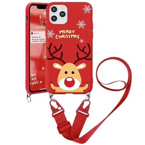 ZhuoFan Navidad Funda con Cuerda para Xiaomi Mi A2 Lite Funda [5.84'] Xmas Rojo Carcasa de Silicona Suave Case con Colgante Cordon Colgar Correa de Cuello Antichoque Bumper Cover para Mi A2 Lite