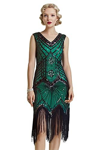Babeyond Vestido de charlestón, estilo de los años 20, del Gran Gatsby, con flecos, cuentas y cuello en V - Verde - Small