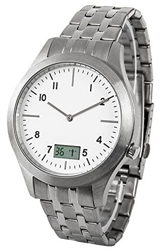 Reloj de pulsera controlado por radio para hombre, de acero inoxidable, con fecha y segundos