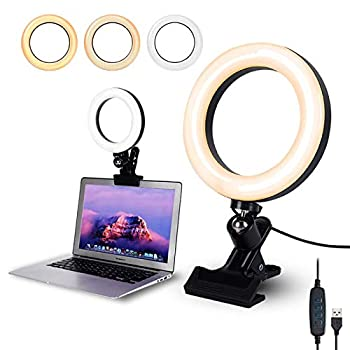 Video Conference Lighting,6.3  Selfie Ring Light with Clamp Mount for Video Conferencing,Webcam Light with 3 Light Modes&10 Level Dimmable for Laptop/PC Monitor/Desk/Bed/Office/Makeup/YouTube/TIK Tok