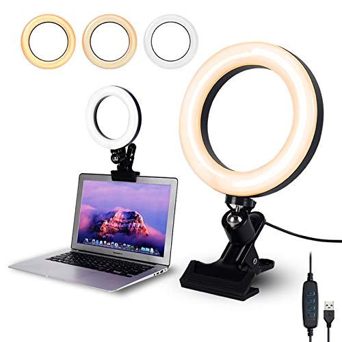 Video Conference Lighting,6.3' Selfie Ring Light with Clamp Mount for Video Conferencing,Webcam Light with 3 Light Modes&10 Level Dimmable for Laptop/PC Monitor/Desk/Bed/Office/Makeup/YouTube/TIK Tok