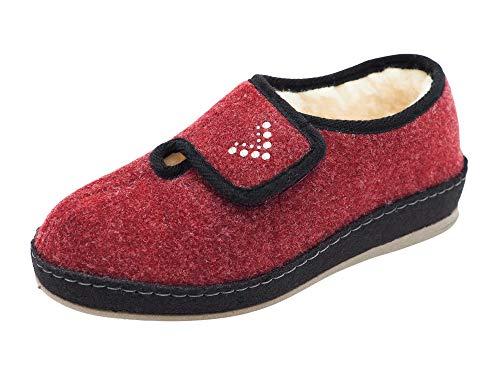Schawos Filz Hausschuh für Damen, Qualitäts-Hausschuhe, Made in Germany, mit anatomisch geformtem Fußbett und aktiver Fersendämpfung (Bordeaux, Numeric_36)