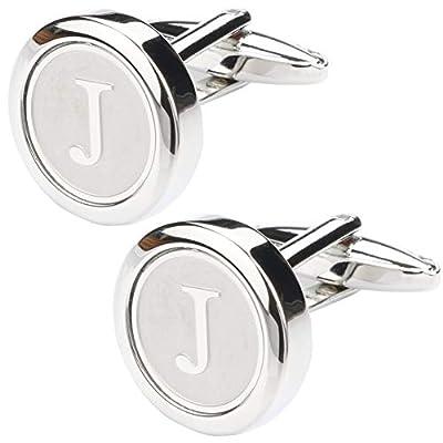 Dannyshi Mens Classic Stainless Steel Initial Cufflinks 26 Alphabet Initial Letter Cufflinks Business Wedding Shirts A-Z (J)