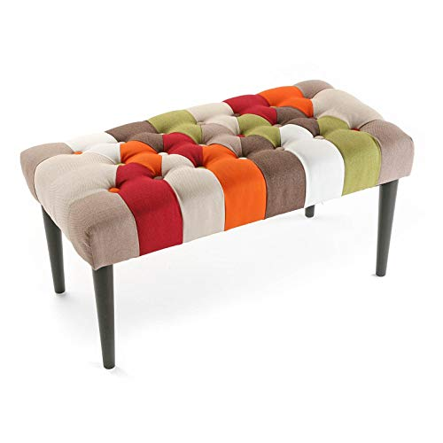 Patchwork Red Bank Versa pedana Sgabello, legno e cotone, rosso, verde, arancione e beige, 45 x 40 x...