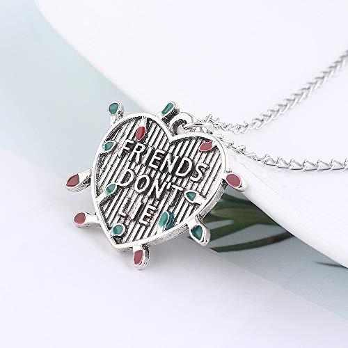 """Beautiful Stranger Things """"Friends Do not Lie"""" Halskette Glühbirne Brief Herz-Anhänger Halskette Geschenk für Frauen"""