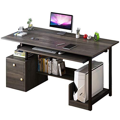 BESTSOON Escritorio para ordenador portátil, mesa de estudio, estación de trabajo con gabinete de almacenamiento y estantes de ordenador para el hogar y la oficina