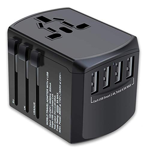 ZGGCD Travel Adapter, International Power Adapter, Universal Plug Adaptor with 4 USB Ports, High Speed 4.5A Worldwide Wall Charger, All in One AC Socket for USA UK AUS Europe Asia Cell Phone Laptop