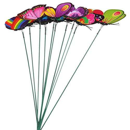 Cabilock 40 Pcs Papillon Jardin Enjeux Coloré Libellules Enjeux sur Bâton Ornement pour Intérieur Extérieur Cour Patio Plante Pot Fleur Lit Décor Couleur Mélangée