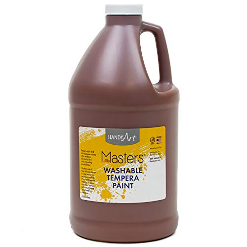 Handy Art Little Masters Washable Tempera Paint, Half Gallon, Brown, 64 Fl Oz