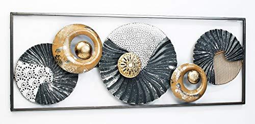 Kobolo Wandbild Metallbild 3D-Bild - Seashell - Metall - anthrazit weiß Gold - ca 28x75 cm
