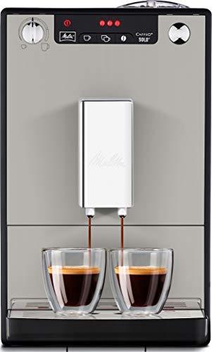 Melitta Caffeo Solo E950-877, Cafetera Superautomática con Molinillo, 15 Bares, Café en Grano para Espresso, Limpieza Automática, Personalizable, Sandy Grey