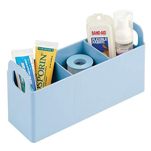 mDesign Förvaringslåda med 3 små fack — Småförvaring med handtag i plast — Badrumsförvaring för tops, bomullstussar och hygienartiklar — Ljusblå