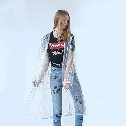 Poncho Lluvia Reutilizable EVA, Impermeables Transparentes, con Capucha Y Mangas,Azul,M