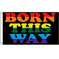 国旗 ボーン ディス ウェイ Born This Way 虹色 レインボー LGBT 特大フラッグ【ノーブランド品】