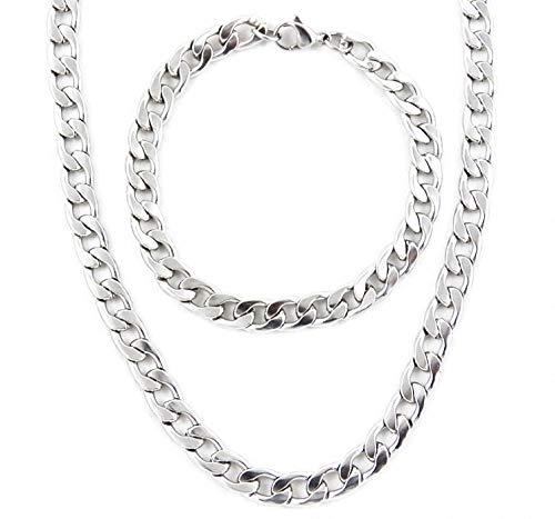 AKIEE Conjunto Collar y Pulsera para Hombre De Acero Inoxidable Cadena Figaro (Plata M1 : 45 CM +20 CM, 45)