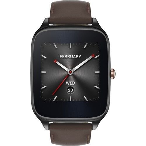 ASUS ZenWatch 2 Smartwatch 1.63in Stainless Steel - Gunmetal/Brown Leather Band (Renewed)