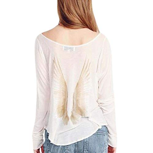 Babao Damesvleugels bedrukt overhemd Angel Wings lange mouwen Jumper Tops