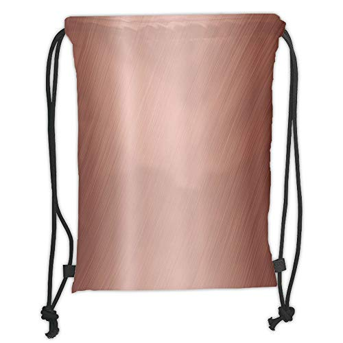 LULUZXOA Gym Bag Printed Drawstring Sack Backpacks Bags,Copper Decor,Abstract Smooth Alloy Surface Image Diagonal Lines with Reflection,Bronze Light Bronze Soft Satin,