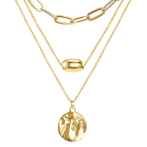 18K Gold Plated Layered Necklaces Set,3 Layers Gold Chain Pendant Layering Necklace (Seperable) for Women Girls Birthday Christmas Gifts with Box