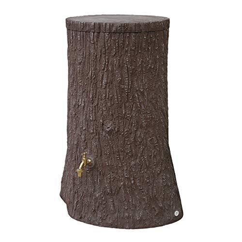 Regentonne rund Regenwassertank Little Tree 250 Liter Farbe braun aus UV- und witterungsbeständigem Material. Regenfass bzw. Wassertank mit kindersicherem Deckel und hochwertigen Messinganschlüssen