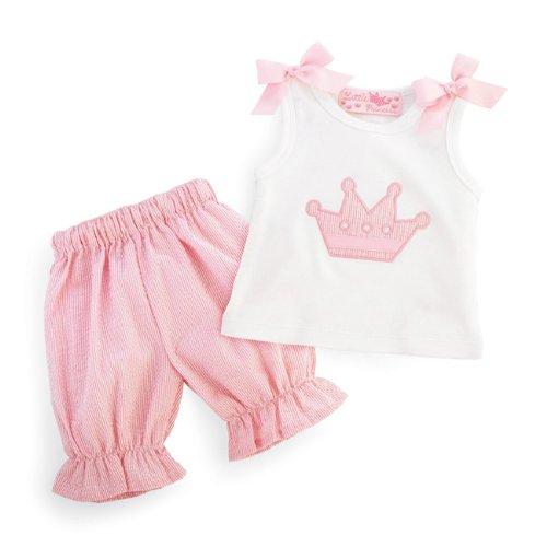Mud Pie Baby Little Princess Cotton Tank and Pink Seersucker Short Set,...